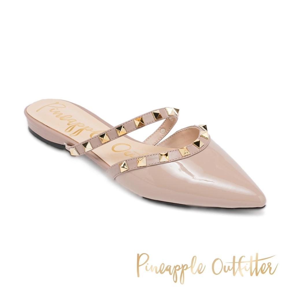 Pineapple Outfitter-HESTER 個性搖滾鉚釘真皮尖頭女拖鞋-鏡粉