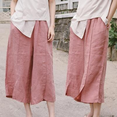 休閒褲-亞麻開衩粉色薄版寬管寬鬆文藝-設計所在