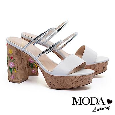 拖鞋 MODA Luxury 復古透明膠片寬帶羊皮繡花木質粗高跟拖鞋-白