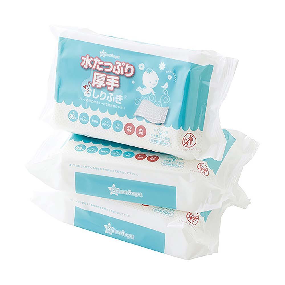 西松屋 Smart Angel 加厚60抽濕紙巾 (1串3包)