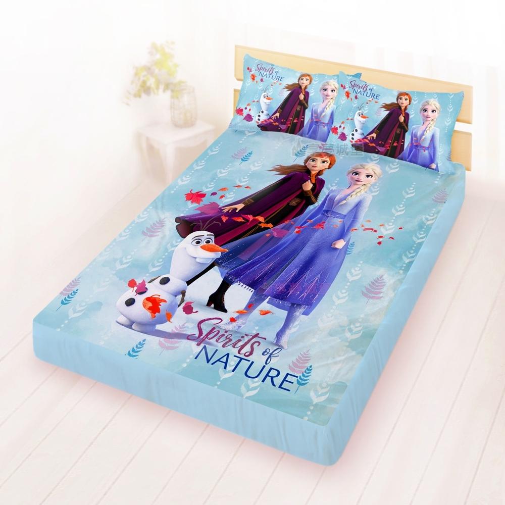 享夢城堡 雙人床包枕套5x6.2三件組-冰雪奇緣FROZEN迪士尼 秋日之森-藍