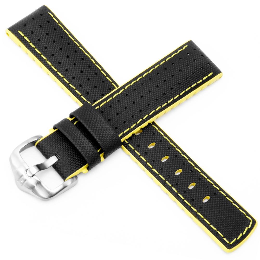 海奕施 HIRSCH Robby L橡膠複合小牛皮錶帶-黑黃