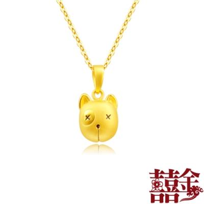 囍金 賤狗小牛頭鈴鐺(會響) 999千足黃金項鍊