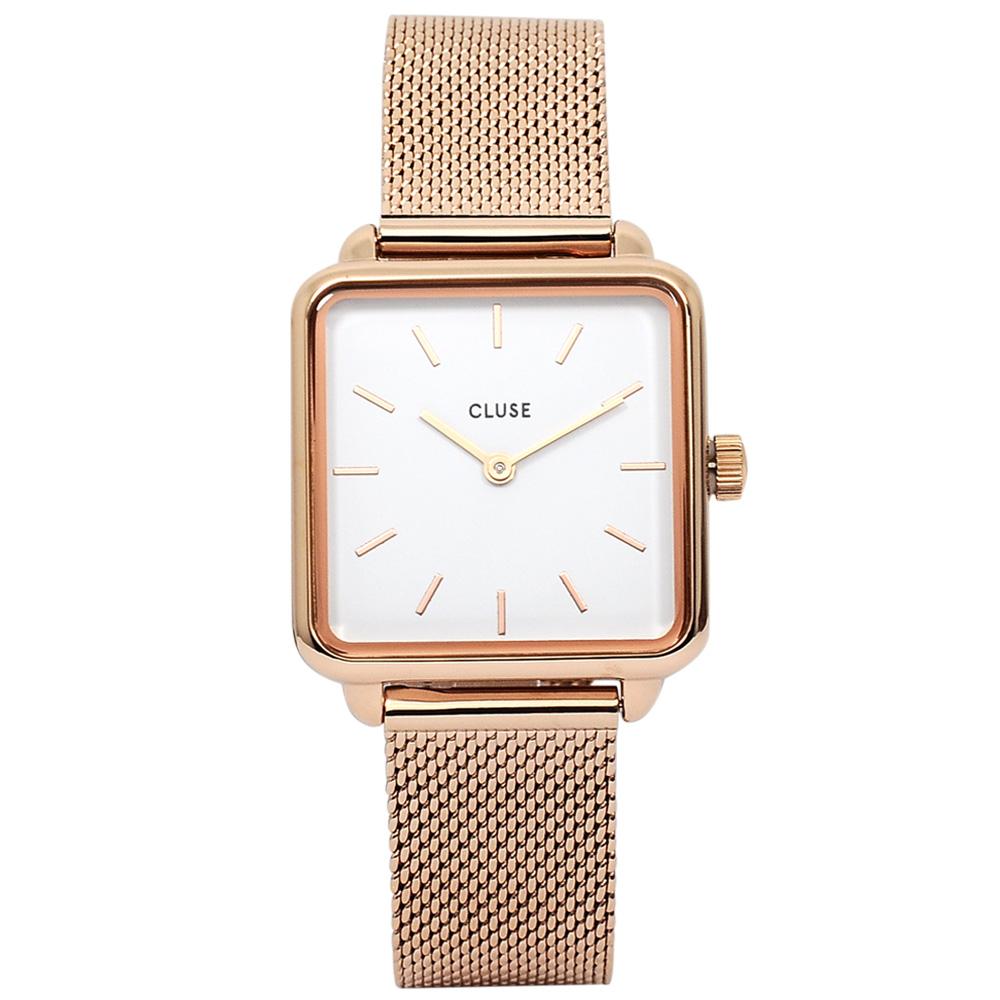 CLUSE荷蘭精品手錶 LaTétragone系列 白錶盤/玫瑰金米蘭錶帶28.5mm