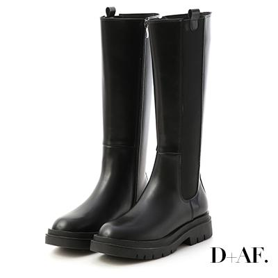 D+AF 時尚型女.加厚鞋底切爾西長靴*黑