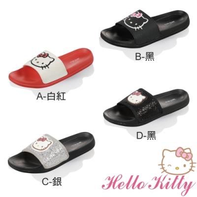 Hello Kitty女鞋 輕量室內外兩用拖鞋-白紅.銀.黑