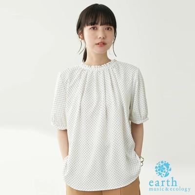 earth music 2WAY厚雪紡摺邊緞帶短袖上衣