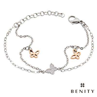 BENITY 蝶戀花 細緻手鍊 典雅款式 醫療級抗敏 白鋼 IP玫瑰金 女手鍊