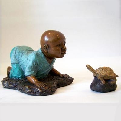 林韋龍(林宇坤) 童趣系列限量原作銅雕~對話(問禪