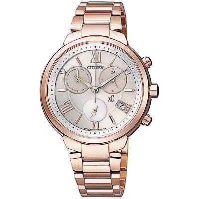 CITIZEN星辰xC光動能鈦金三眼計時手錶FB1332-50A-玫瑰金/35mm