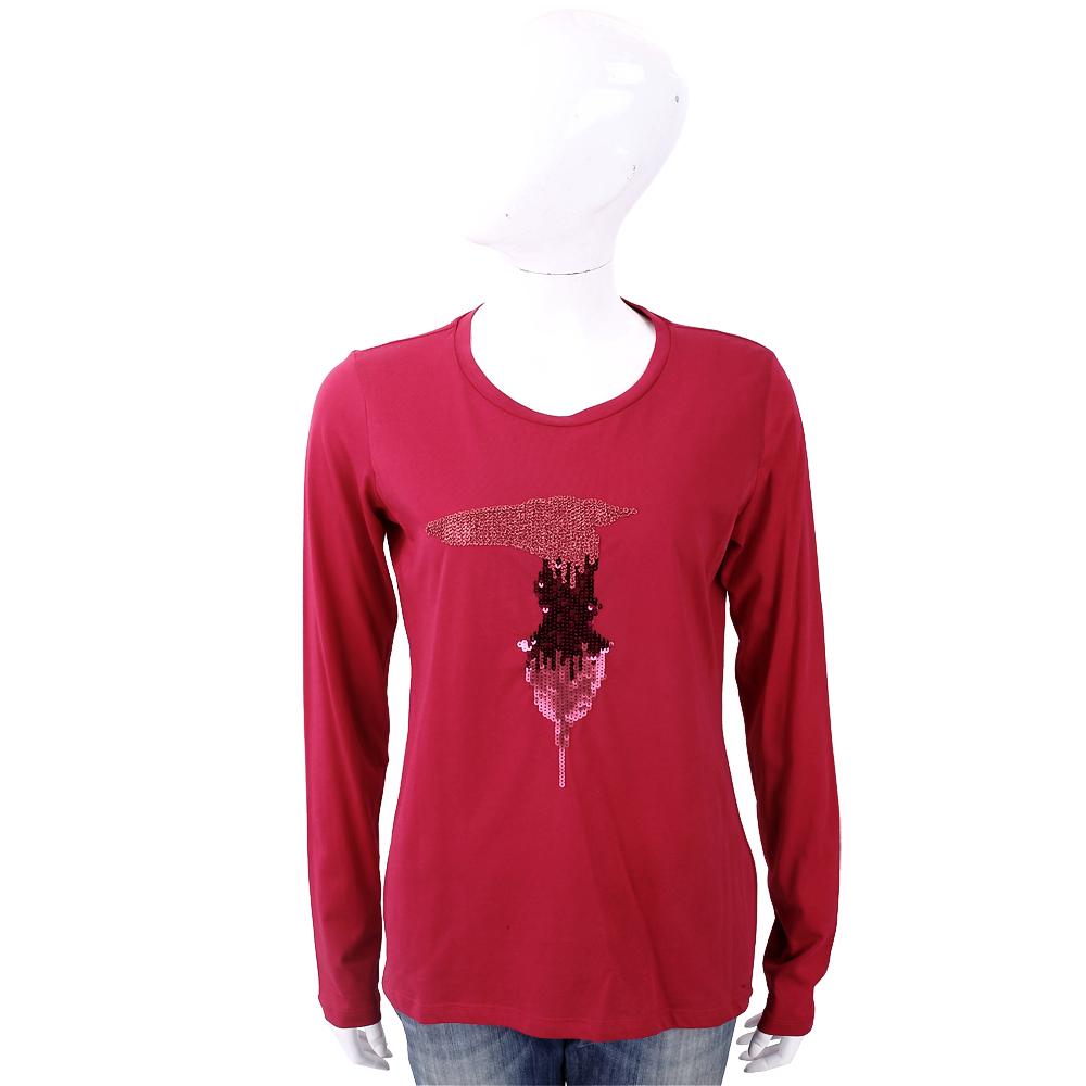 TRUSSARDI T 亮片字母紅色棉質T恤