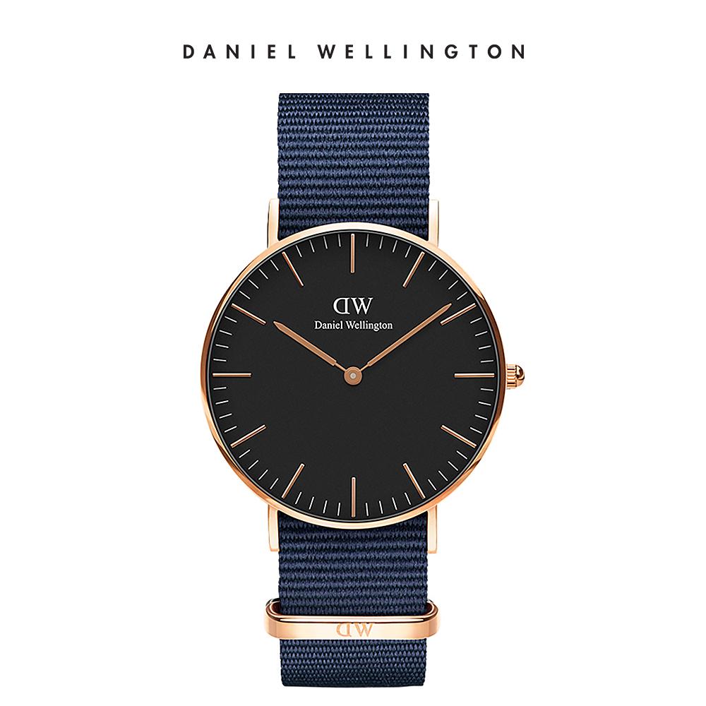 DW 手錶 官方旗艦店 36mm玫瑰金框 Classic 星空藍織紋錶