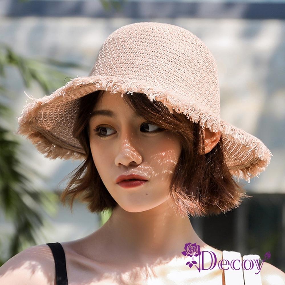 Decoy 空靈少女 編織夏季防曬遮陽草帽漁夫帽 卡其