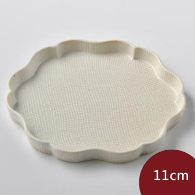 Tojiki Tonya美濃下石陶製花盤11cm-乳白色