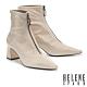 短靴 HELENE SPARK 摩登時髦金屬拉鍊尖頭粗方跟短靴-米 product thumbnail 1