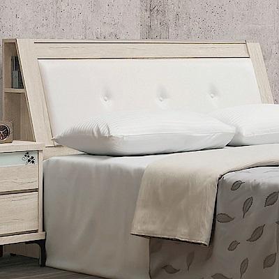 文創集 西貝頓時尚5尺皮革雙人床頭箱(不含床底)-153x30x104cm免組