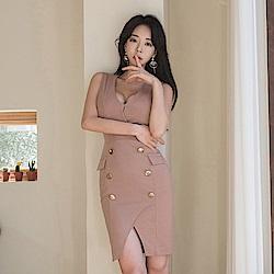 IMStyle V領無袖排扣連身洋裝(裸粉色)