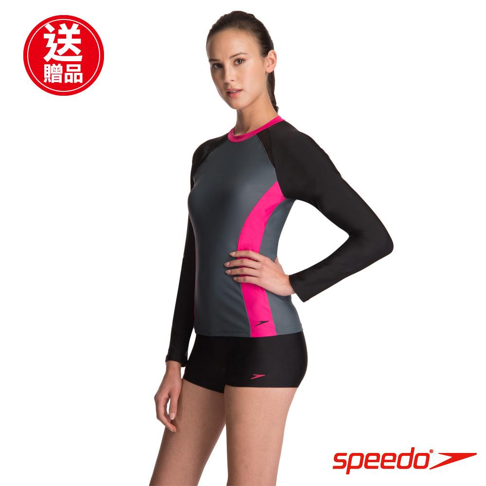 SPEEDO 女人運動長袖兩截式泳裝Hydrasport 黑/灰/粉紅 @ Y!購物