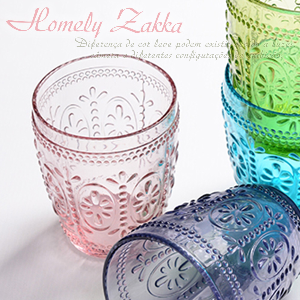 Homely Zakka 午茶食光歐式古典浮雕玻璃杯(繽紛花漾)300ml-櫻粉