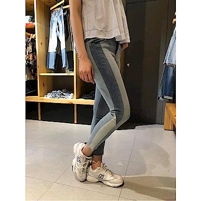 Levis 女款 721 高腰緊身窄管 彈性牛仔褲 撞色拼接 褲管不收邊
