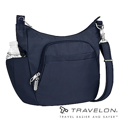 Travelon美國防盜包  簡約經典素面防割鋼網休閒旅遊側背包TL-42757深藍14