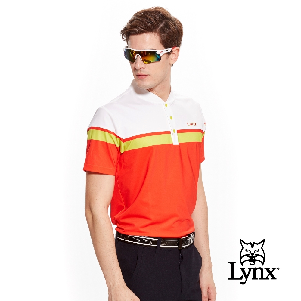 【Lynx Golf】男款吸汗速乾機能跳色短袖立領POLO衫-橘紅色