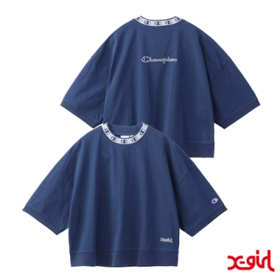 X-girl x Champion S/S MOCK NECK TEE聯名短袖T恤-藍