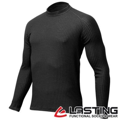 【LASTING捷克】男款羊毛抗菌除臭透氣舒適立領保暖衫/中層保暖衣LT-SWU黑