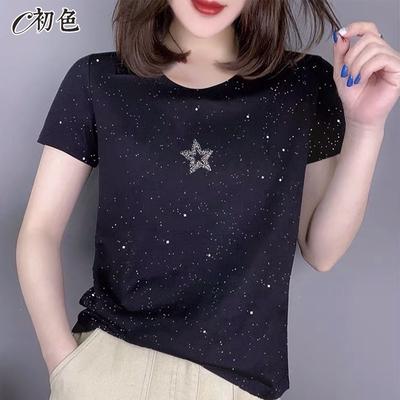 初色  時尚閃亮星星T恤-黑色-(M-2XL可選)