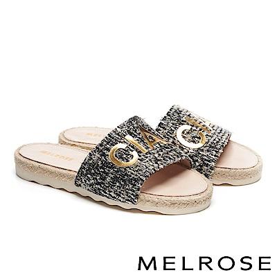 拖鞋 MELROSE 時尚金屬CIAO字樣毛呢厚底拖鞋-米