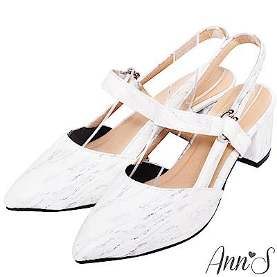 Ann'S迷人美女-拉帶露後跟好走粗跟尖頭鞋-大理石