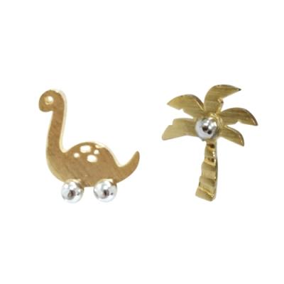 Prisme 美國時尚飾品 侏儸紀風情造型 金色耳環