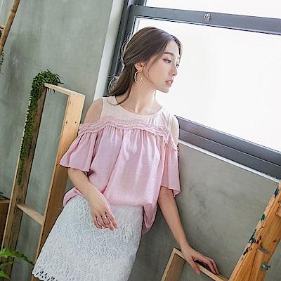 親子裝系列~鏤空蕾絲拼接高含棉挖肩純色上衣-OB嚴選