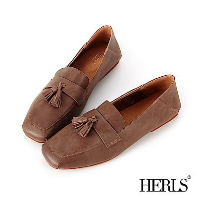 HERLS 柔軟全真皮流蘇方頭樂福鞋-可可色