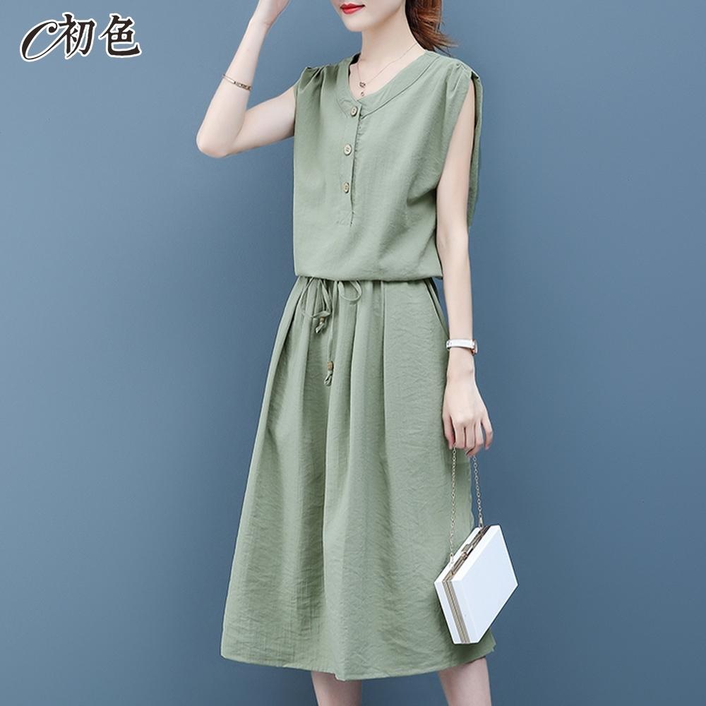 初色  收腰氣質棉麻洋裝-共3色-(M-2XL可選)