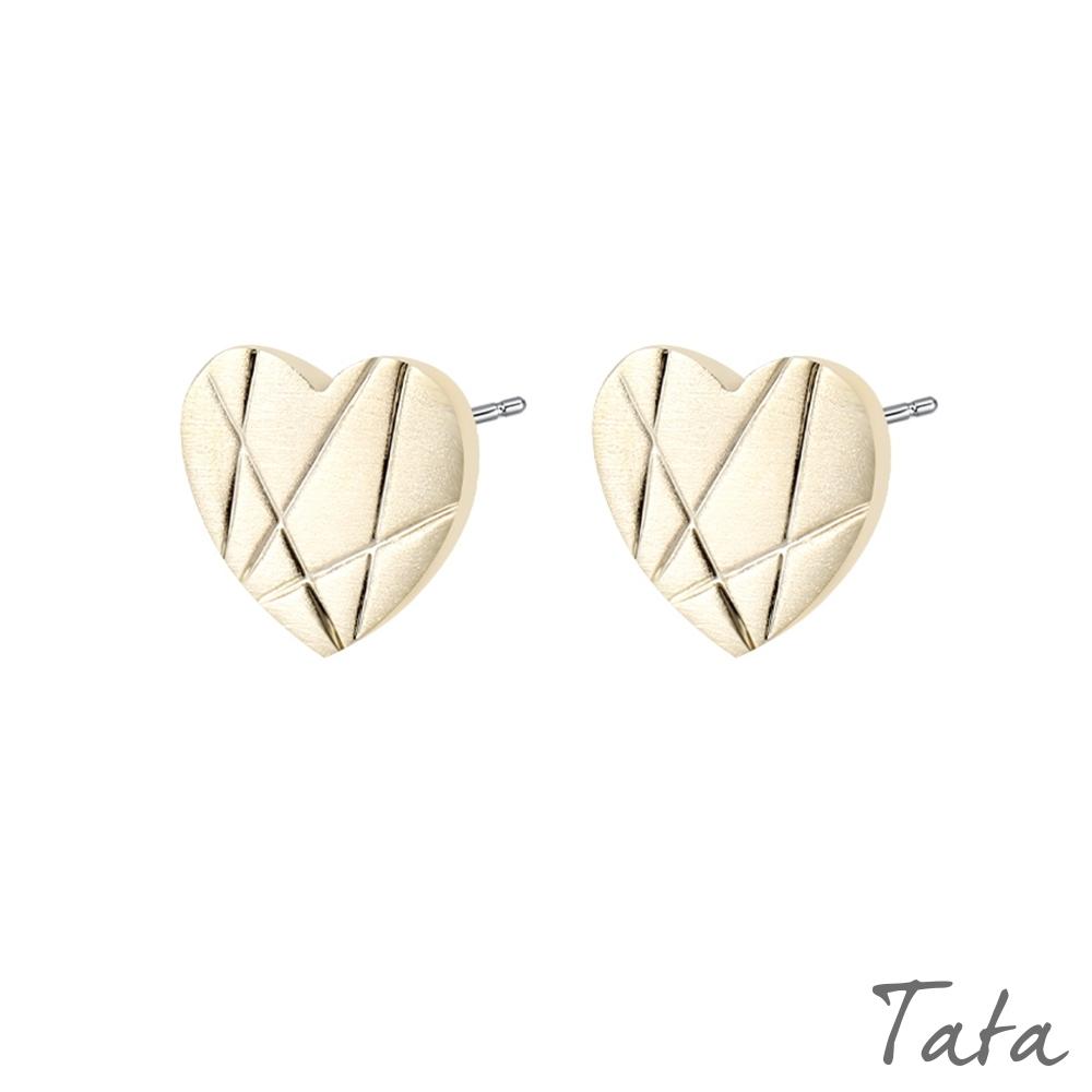 愛心幾何線條耳環 共二色 TATA