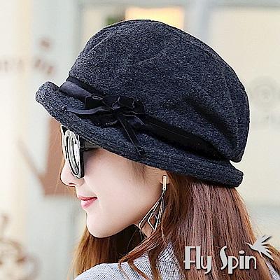 FLYSPIN 羊毛混紡毛呢時尚保暖南瓜貝蕾淑女冬帽
