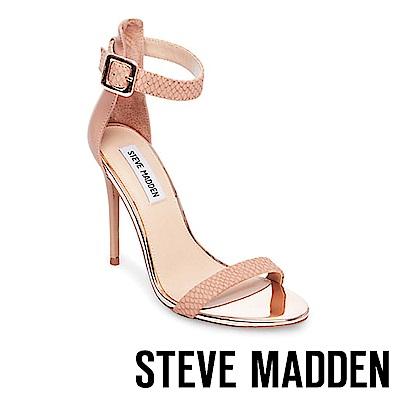 STEVE MADDEN-MARLEY 特殊壓紋一字高跟涼鞋-粉紅