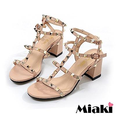 Miaki-涼鞋 東大時尚金屬高跟鞋-杏色