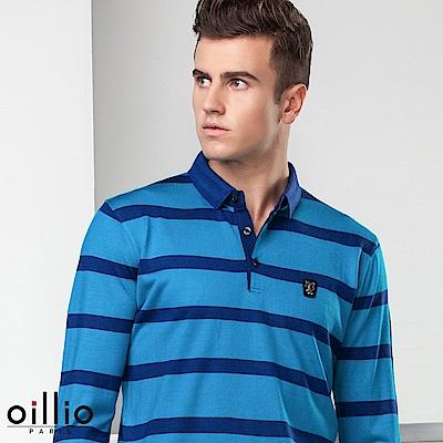 歐洲貴族oillio 長袖線衫 POLO領款式 炫麗色系 藍色