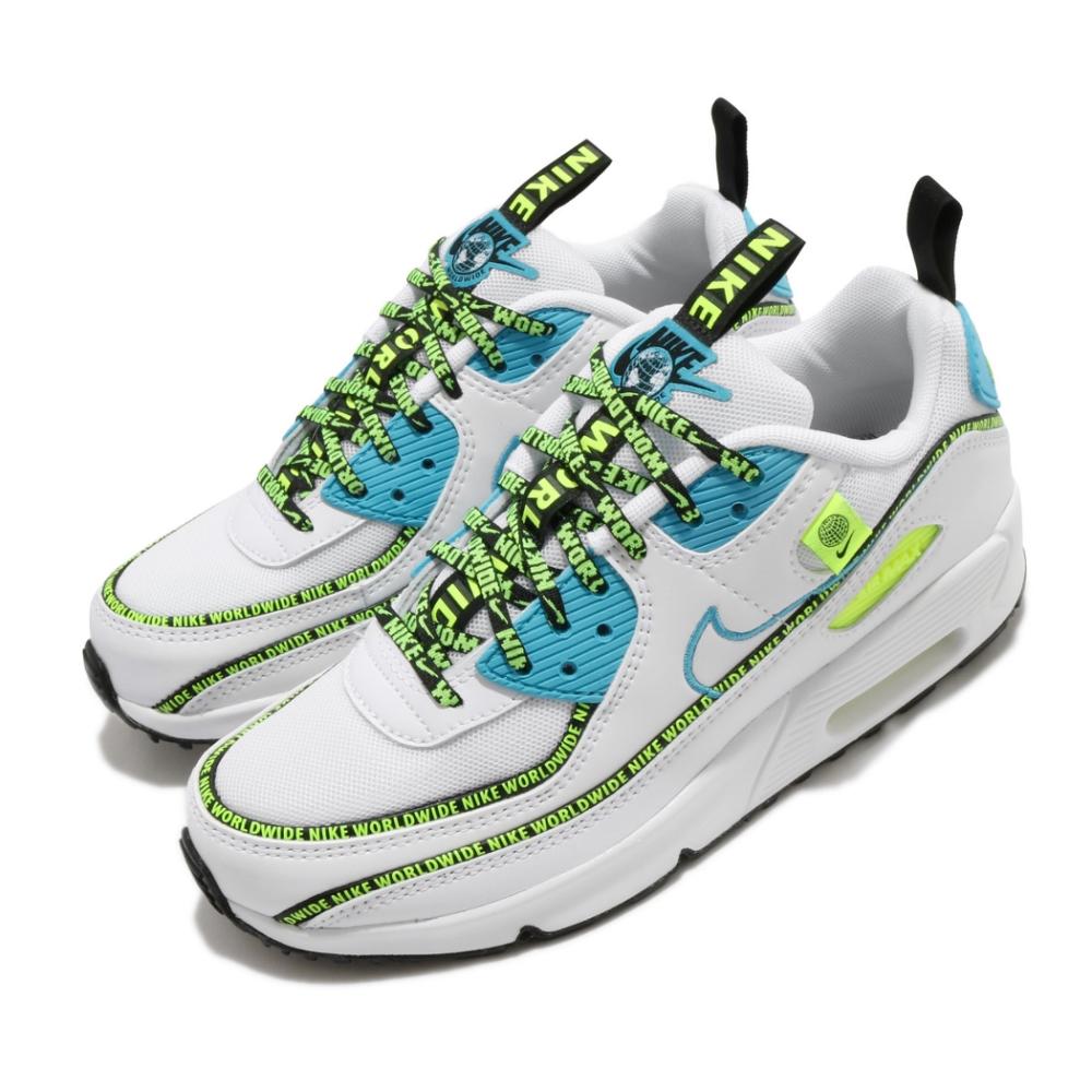 Nike 休閒鞋 Air Max 90 SE2 GS 女鞋 大童鞋 氣墊 復古 Worldwide 白藍   CV7665100