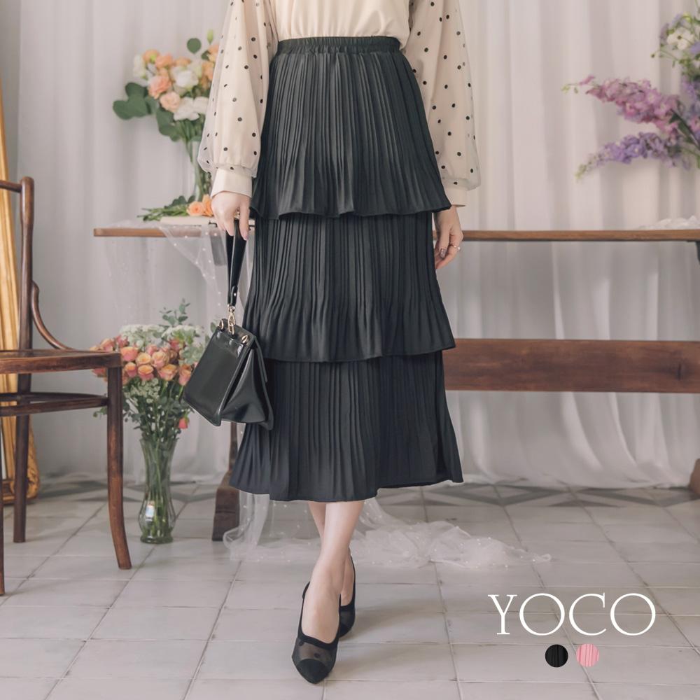 東京著衣-yoco 午茶女孩腰鬆緊百褶蛋糕層次長裙-S.M.L(共二色)