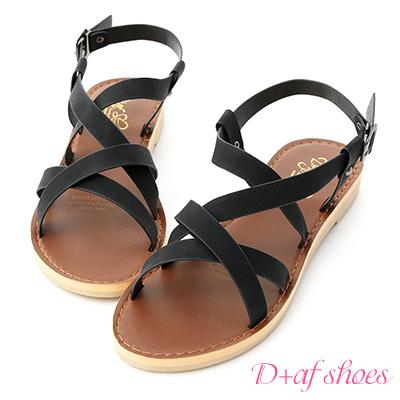 D+AF 隨性步調.層次感交叉平底涼鞋*黑