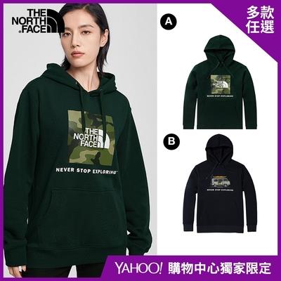 【The North Face】YAHOO 限時優惠-北面經典熱銷男女款大學帽T(多款任選)
