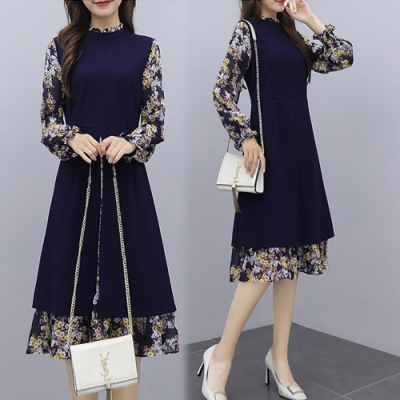 【韓國K.W.】(預購)韓時尚復古感印花假兩件洋裝-1色