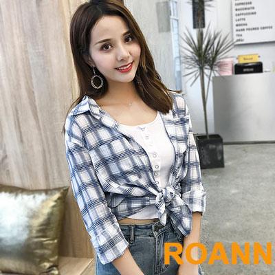經典格紋綁帶罩衫襯衫 (共二色)-ROANN