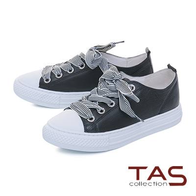 TAS寬版條紋綁帶素面休閒鞋-百搭黑