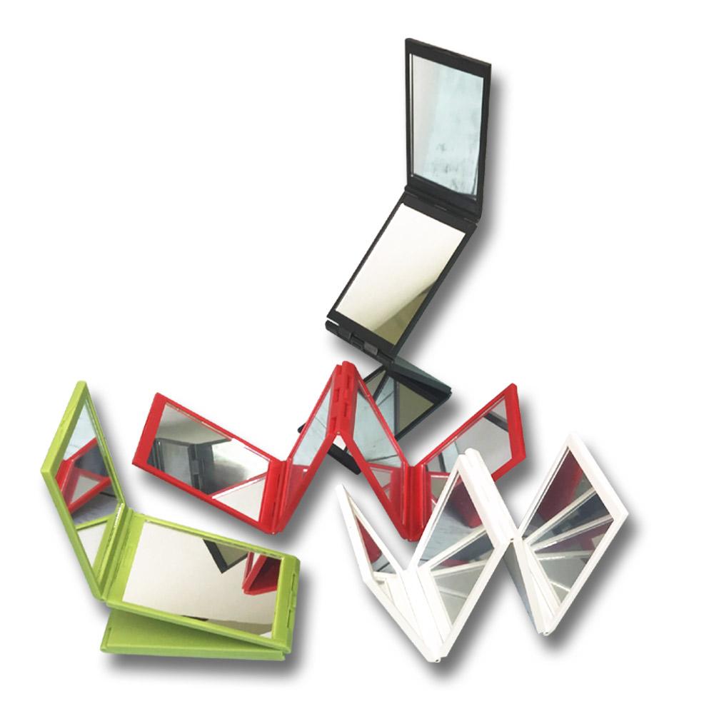 金德恩 360視角隨身摺疊補妝化妝四面鏡(附收納袋) 四色