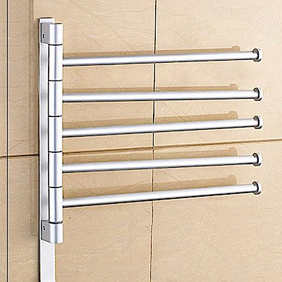 AA601-S5 銀色 免打孔太空鋁 五桿 可旋轉毛巾桿無痕免貼加厚毛巾架多桿毛巾置物架