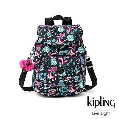 Kipling 繽紛奇想叢林圖騰拉鍊後背包-CARAF
